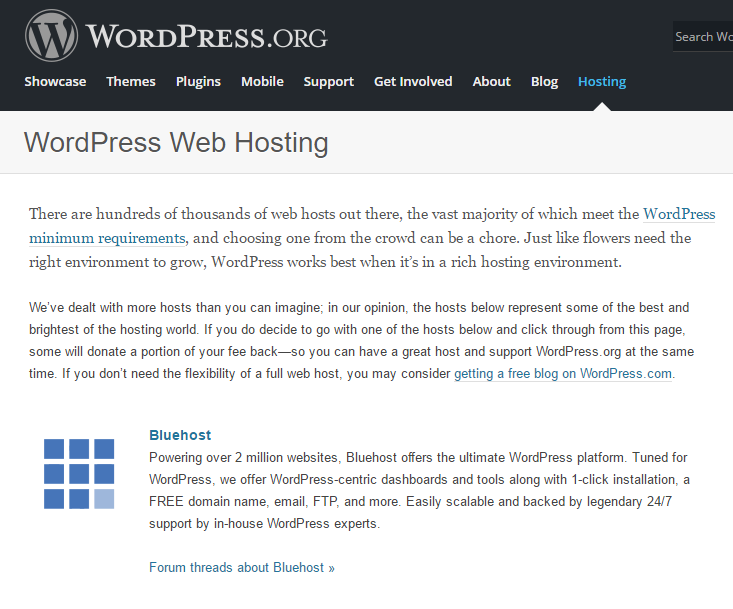 Bluehost Web Hosting WordPress.org Page
